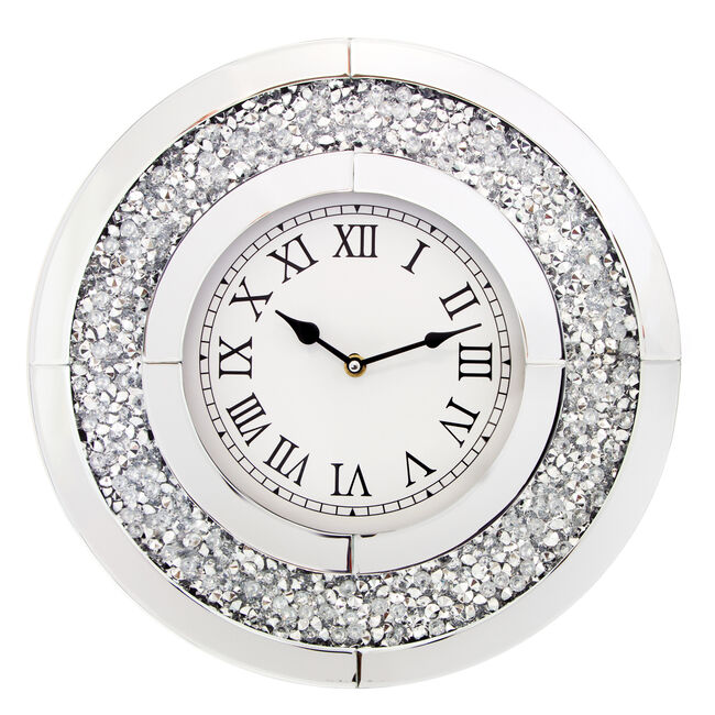 Crushed Silver Clock 40cm