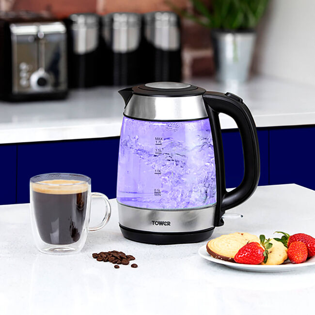 Tower Rapid Boil Glass Kettle 1.7L