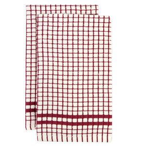 Mono Check Tea Towels 2 Pack - Berry