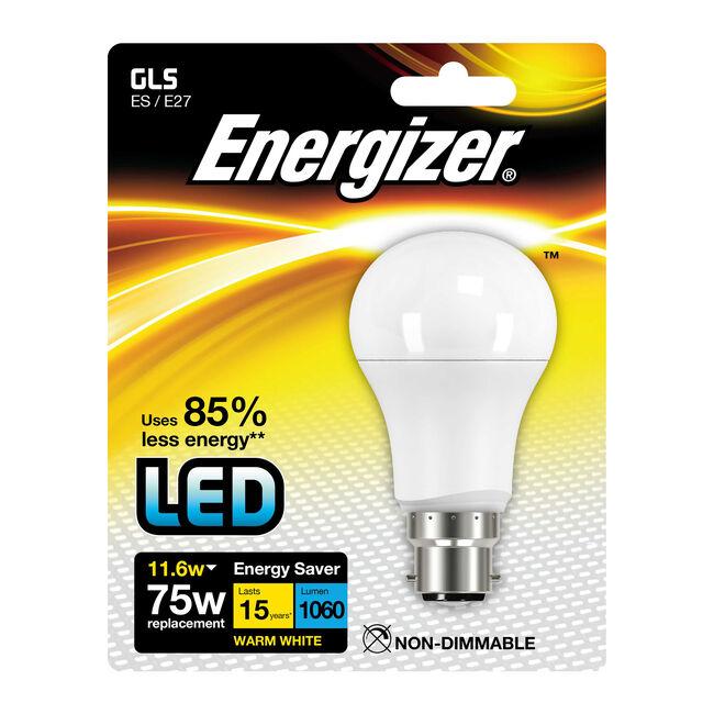 Energizer GLS B22 LED Bulb Opal 11.6W (EQ75W)