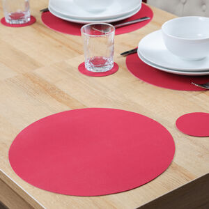 Round Leather Placemat - Berry