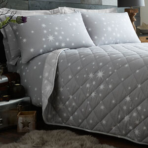 Brushed Cotton Stars Grey Bedspread