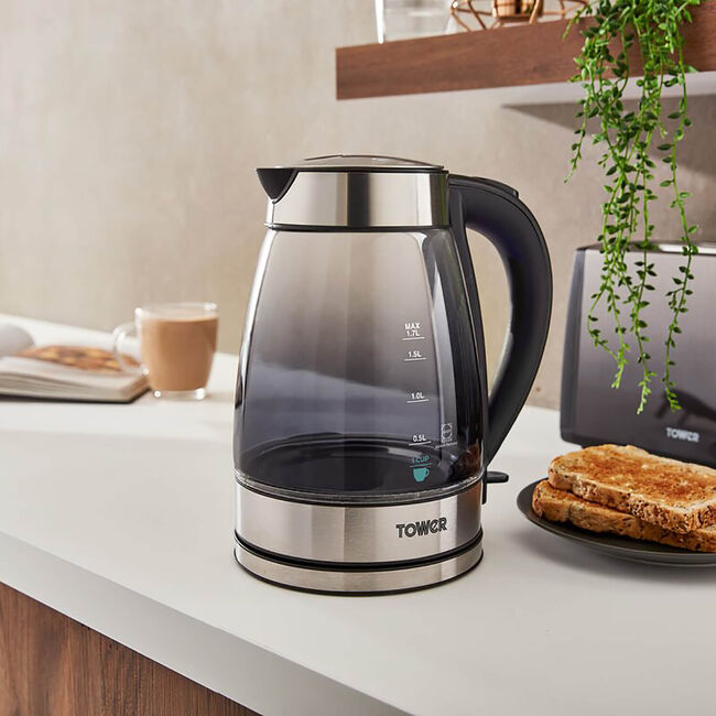 Tower Glass Kettle 1.7L - Black Ombre