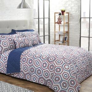 Polygon Navy/Berry Bedspread