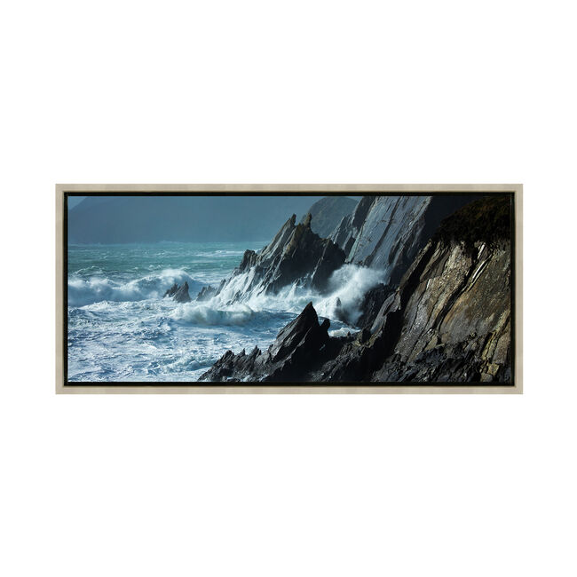 Storm Waves At Slea Head 47x108cm Framed