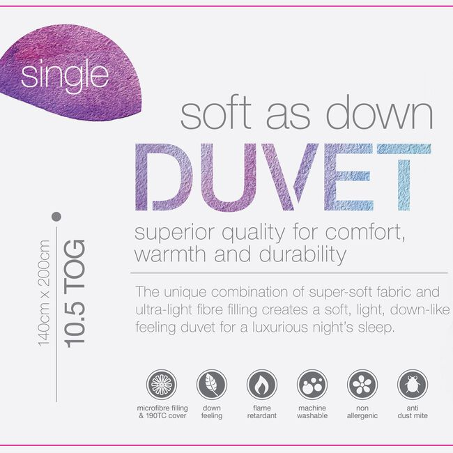 Soft As Down Duvet Single