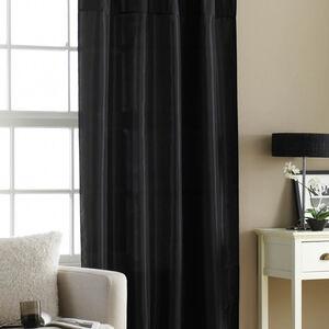 Embroidered Black Taffeta Curtain