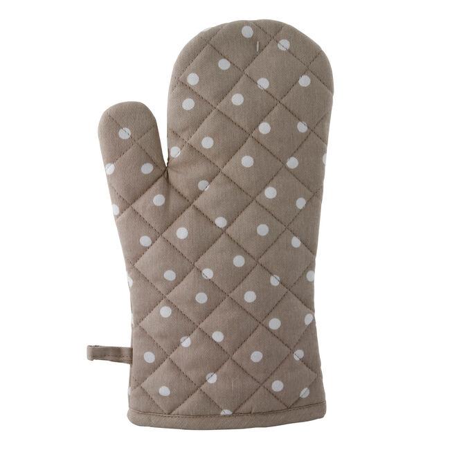 Polka Dot Natural Single Oven Glove