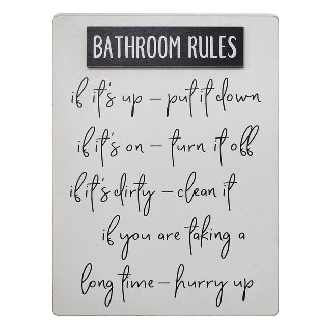 Bathroom Rules Wall Décor 30x40cm
