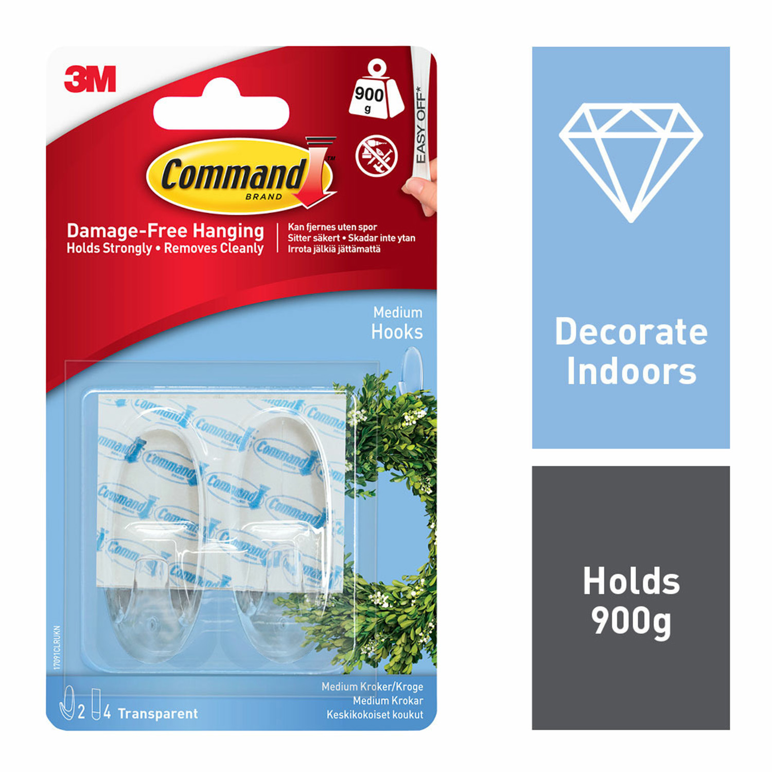 Command 2Pk Clear Medium Plastic Hooks