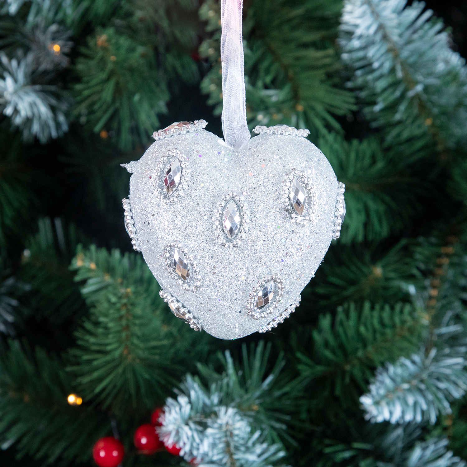 Jewel Shapes Tree Ornament Silver - 8cm