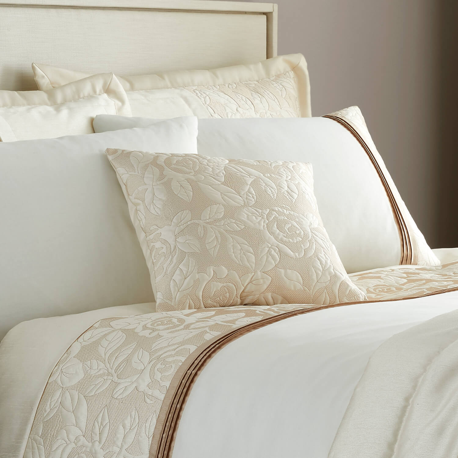 Quilted Rose Cream Gold Cushion 45x45cm Home Store More