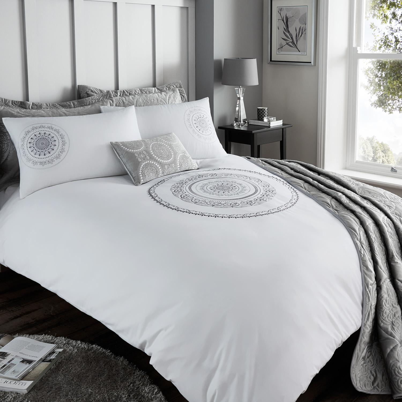 mandala silver duvet cover home store more. Black Bedroom Furniture Sets. Home Design Ideas