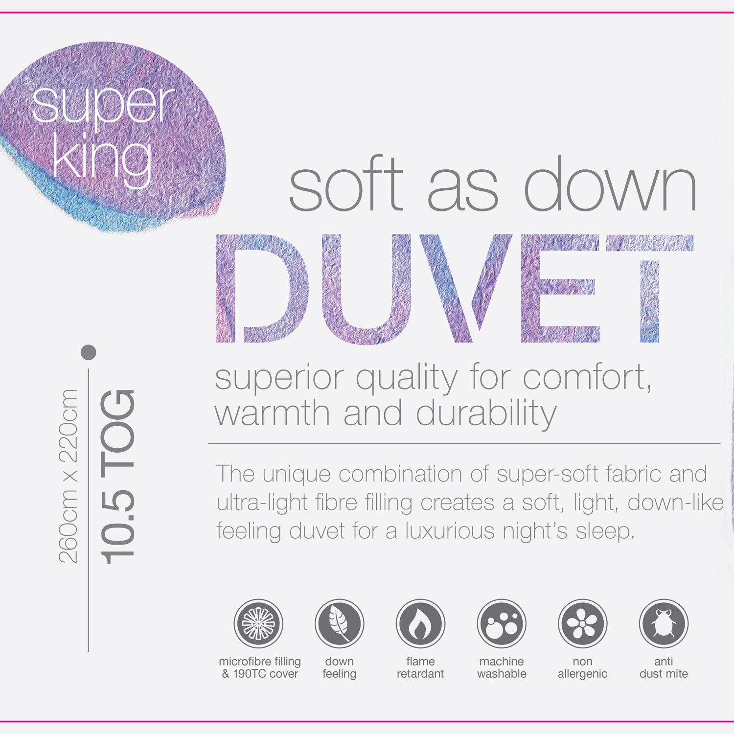 Soft As Down Duvet Super King
