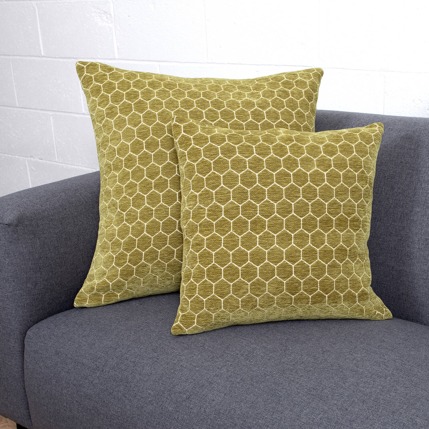 Honeycomb Cushion 45x45cm Olive Green Home Store More
