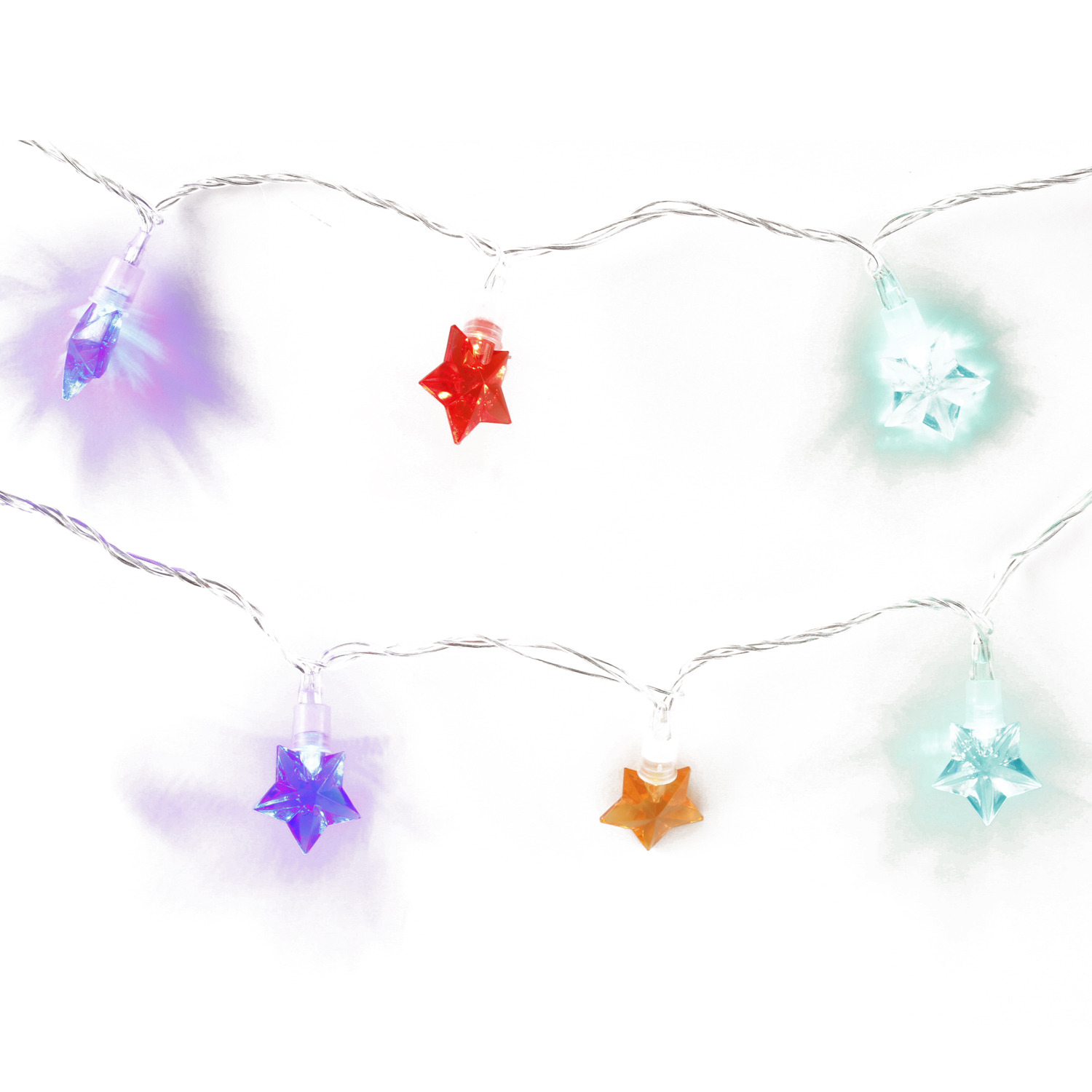 20 Star Flashing LED Lights Multicolour