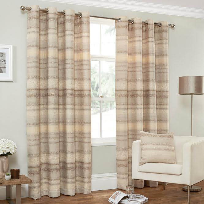 Distressed Texture Stripe Curtains - Cream